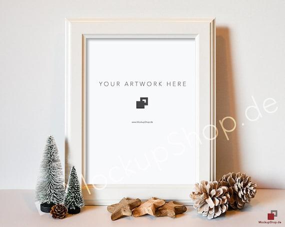 CHRISTMAS MOCKUP FRAME white / 10x14 / Christmas Trees | Etsy
