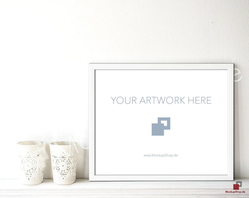 11 x 14 weiß aus Holz Bilderrahmen Mockup auf Sideboard / / | Etsy