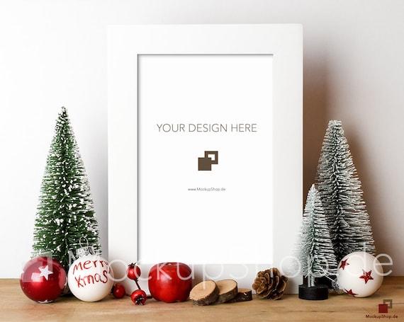 CHRISTMAS MOCKUP FRAME white / 8x12 / Frame Mockup Christmas / | Etsy