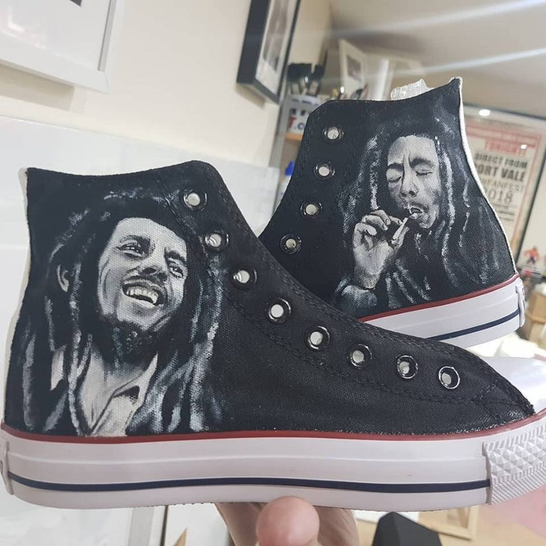 Bob Marley Monochrome Black White Handpainted Custom Converse Shoes