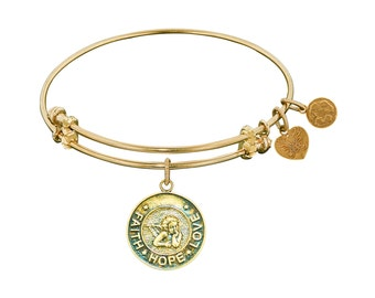 "Angelica's Antique Yellow Stipple Brass ""Faith Hope Love"" Expandable Charm/Bangle/Bracelet (GEL1094)"