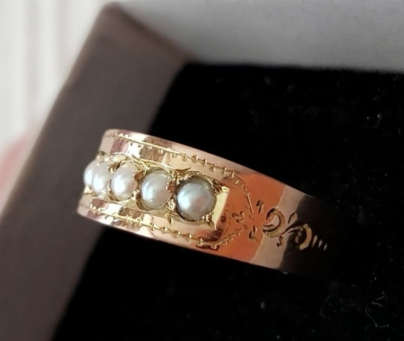 Antiques ring 56/14 k Vintage gold ring Pearl ring