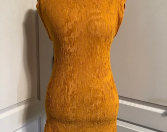 26bed2dfbfe VIntage mustard yellow tunic top textured rayon women S/M