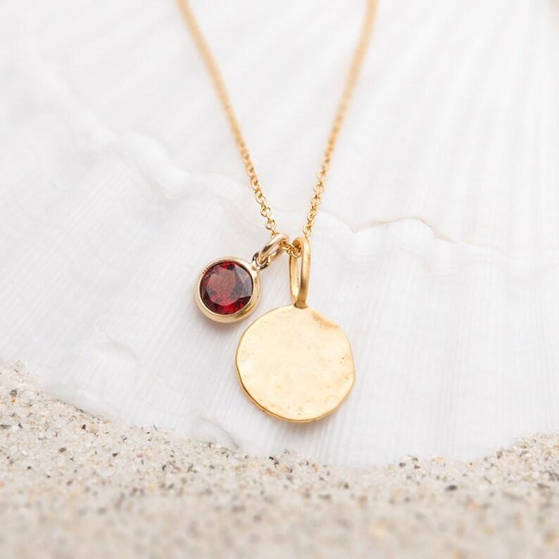 Hammered Gold disc necklace with Garnet CharmGarnet Disc NecklaceGarnet necklaceGarnet Charm NecklaceJanuary birthstone