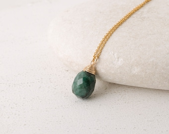 Emerald Necklace/Genuine Emerald Necklace/Faceted Emerald Pendant Necklace/Green Emerald pendant Necklace/May birthstone