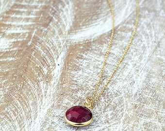Ruby Necklace/Ruby Gemstone pendant necklace/Genuine Ruby Necklace/July birthstone