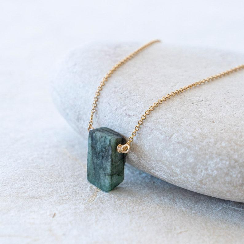 Emerald NecklaceGenuine Emerald NecklaceEmerald Pendant NecklaceGreen Emerald pendant NecklaceMay birthstone