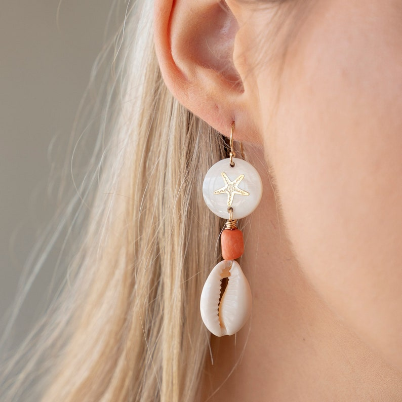 Cowrie Shell EarringsCowrie Dangle EarringsCoral and Cowrie Shell EarringsCowrie Drop EarringsMother of Pear EarringsSea Shell Earrings