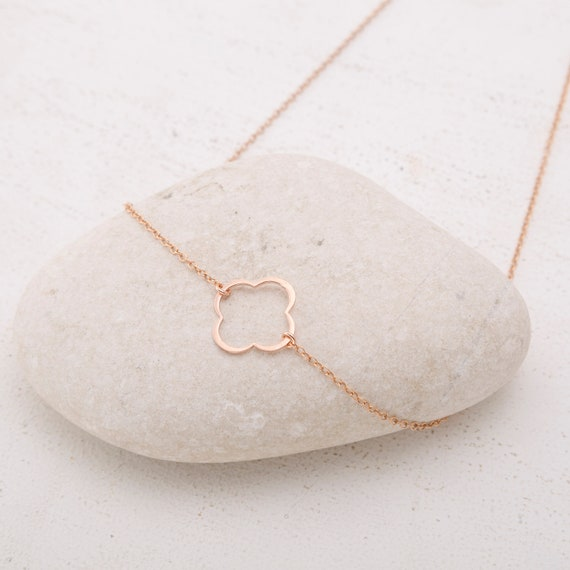 Gold Clover Enamel Necklace For Her Accessories
