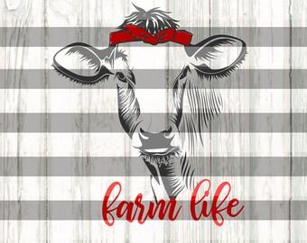 Farm life SVG / Cow svg / Trendy cow svg / Cow with headband svg / heifer svg / svg dxf