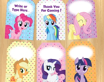 INSTANT DOWNLOAD - EDITABLE My Little Pony Thank You Tag