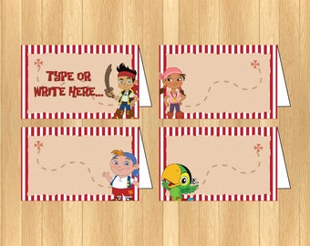 INSTANT DOWNLOAD - EDITABLE Jake and the Neverland Pirate Food Tent