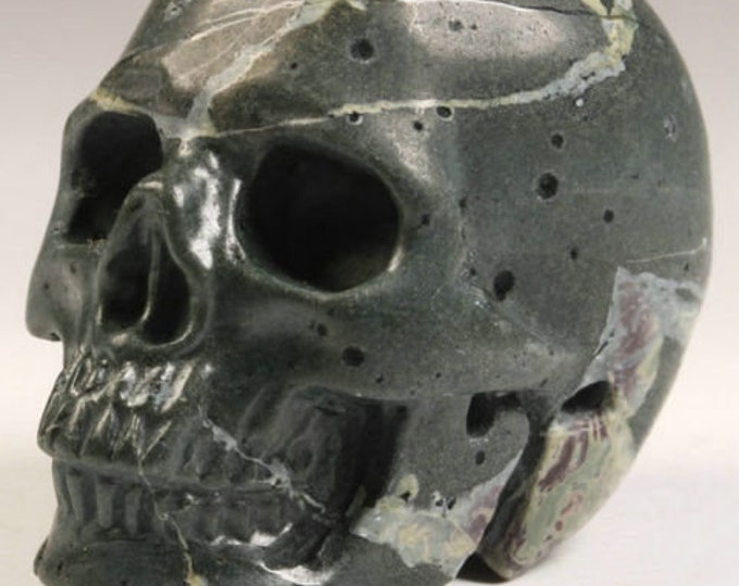 Camouflage Jasper Carved Skull  #056