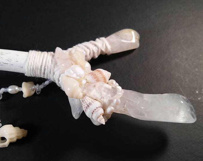 Crystal Quartz and Pearl Fairy/Mermaid Wand