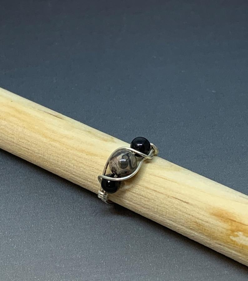 /& Black Onyx Gemstone Ring Leopard Skin Jasper Amalea Jewelry Size 2 34 Sterling Silver