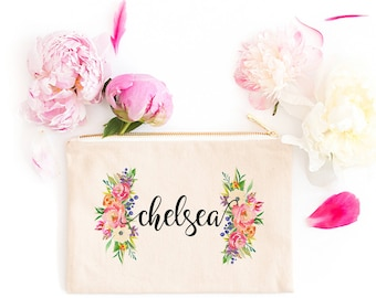 Personalized Makeup Bag | Personalized Pouch | Bridesmaid Gift | Bridesmaid Makeup Bag | Spring Floral | Zipper Pouch | Gift For Her