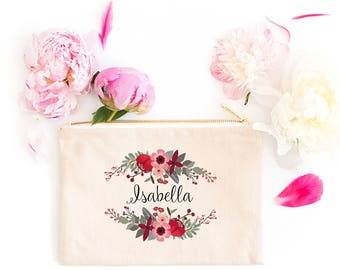 Personalized Makeup Bag | Personalized Pouch | Bridesmaid Gift | Bridesmaid Makeup Bag | Marsala Floral | Zipper Pouch | Gift For Her