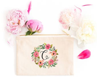 Personalized Makeup Bag | Personalized Pouch | Bridesmaid Gift | Bridesmaid Makeup Bag | Watercolor Wreath | Zipper Pouch | Gift For Her