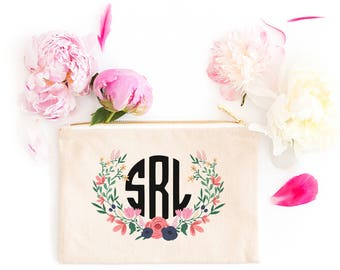Personalized Makeup Bag | Personalized Pouch | Bridesmaid Gift | Bridesmaid Makeup Bag | Garden Floral | Zipper Pouch | Gift For Her