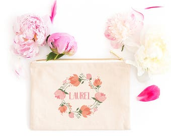 Personalized Makeup Bag | Personalized Pouch | Bridesmaid Gift | Bridesmaid Makeup Bag | Blush and Peach | Zipper Pouch | Gift For Her