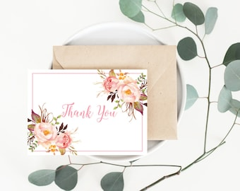 Printable Thank You Cards | Bohemian Blush Watercolor Floral | Bohemian Floral Style | Wedding Thank You Card | DIY Printable Card