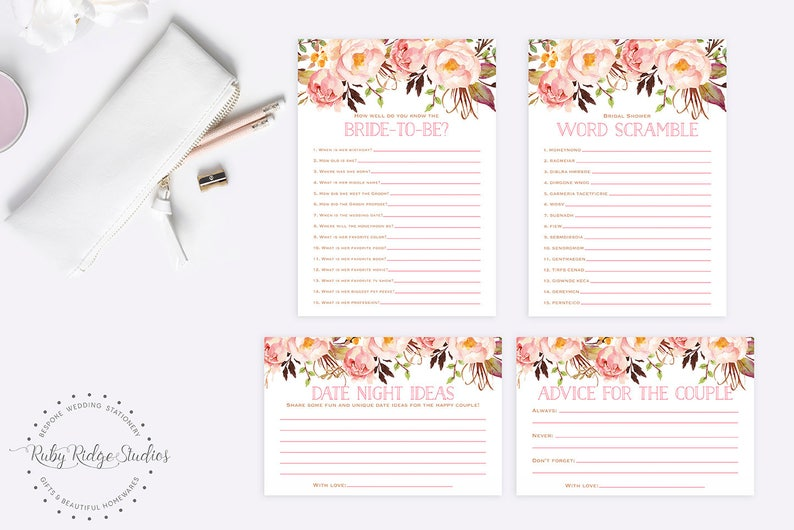 Printable Bridal Shower Games Bohemian Blush Floral Wedding Shower Games Kitchen Tea Games Bachelorette Games 6 Game Bundle