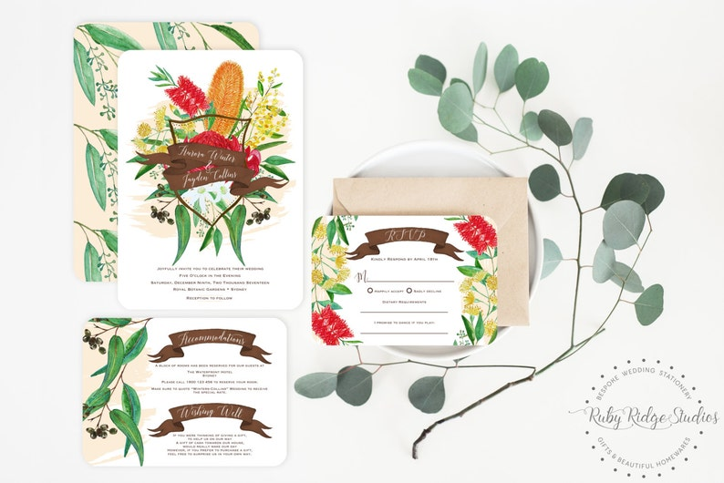 picture regarding Etsy Printable Invitations titled Printable Wedding day Invitation Australian Natives Watercolor Floral  Rustic Wedding day Invite Floral Bohemian Do it yourself Printable Invites
