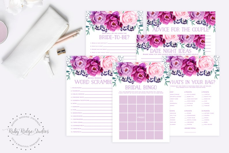 Printable Bridal Shower Games Purple Peony Floral Wedding Shower Games Kitchen Tea Games Bachelorette Games 6 Game Bundle