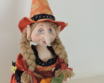 Cloth Art Doll, OOAK, Witch with Braids