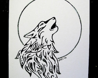 Wolf Greeting Card- Hand drawn greeting card on recycled paper with Glitter embellishments.