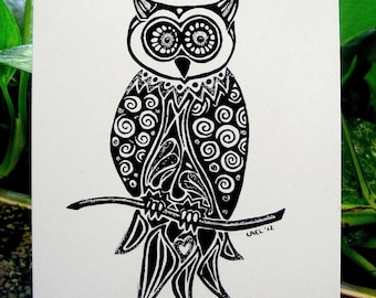 Owl Greeting Card- Hand drawn greeting card on recycled paper with Glitter embellishments.