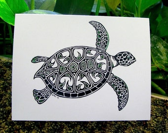 Turtle Greeting Card- Hand drawn greeting card on recycled paper with Glitter embellishments.