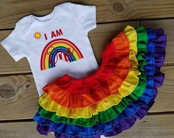 1st birthday outfit, I am ONE rainbow onesie and rainbow ruffle skirt set, 1st birthday set, rainbow birthday outfit