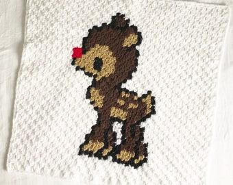 Crochet Reindeer Baby Blanket Pattern