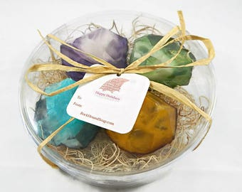 READY TO SHIP - 4 Piece Geode Soap Gift Set