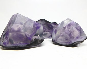 Three Piece Amethyst Geode Shaped Soap Set