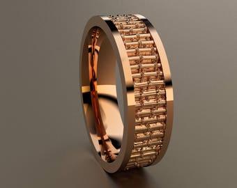 White Gold 6mm Mens Wedding Band 14kt White Gold Bamboo Etsy