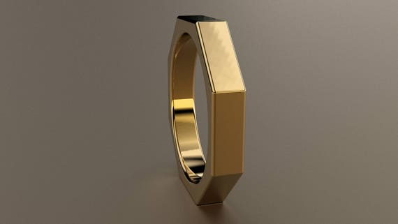 Yellow Gold 4mm Mens Wedding Band Octagon 14kt Yellow Gold Etsy