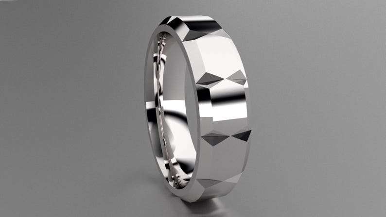 Silver 6mm Mens Wedding Band with Clean Llines Simple Mens Wedding Ring Faceted Classic 925 Sterling Silver Wedding Ring with Cuts