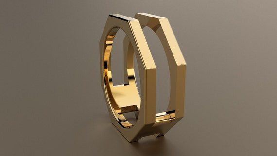 Yellow Gold 8mm Mens Wedding Band Open Octagon 14kt Yellow Etsy