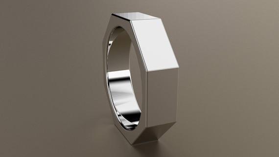 White Gold 6mm Mens Wedding Band Octagon 14kt White Gold Etsy