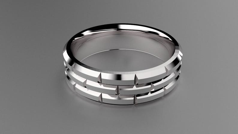 Silver 6mm Brushed Mens Wedding Band with Brick Pattern Classic 925 Sterling Silver Brick Design Wedding Ring Deep Faceted Gold Mens Ring