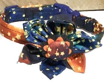 Blue & Orange Star Flower Collar For Girl Dog Or Cat /  Buckled or Martingale Collars / Leash Upgrade /Metal Buckle Upgrade