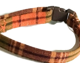 Fall Plaid Breakaway Cat Collar with Flower or Bow tie Upgrade Option / Plaid Leash Upgrade