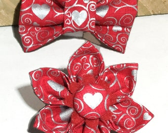 Red & Silver Valentine's Day Heart Flower or Bow tie for Dog or Cat Collar // Attachable Valentine Collar Accessory