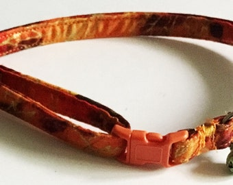 Autumn Leaves  Breakaway Cat Collar with Bell // Matching Bow tie or Flower Option // Buckle Color Option