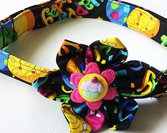 Happy Birthday Collar with Matching Flower for Girl Dogs or Cats