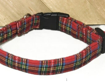Red Tartan Plaid Christmas Collar for Dogs and Cats with Matching Leash Option in Buckled or Martingale Style//XXS-XL