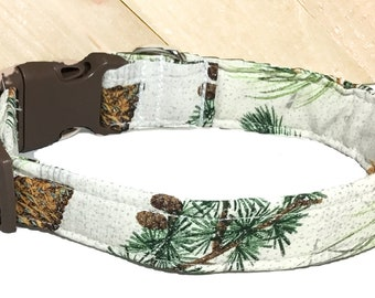 White Sparkling Christmas Collar with Pinecones & Greenery for Dog or Cat / Winter Collars/ Martingale Upgrade / Leash Upgrade