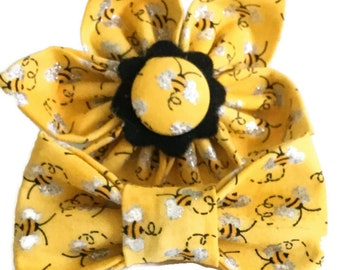 Yellow Bumble Bee Flower or Bow Tie for Male or Female Dog or Cat Collar / Attachable Collar Accessory / XXS-XL